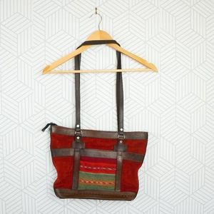 Southwestern Boho 100% Leather Red Tote